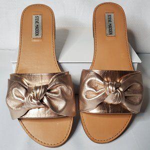 Steve Madden Rose Gold Bow Leather Slides Sandals